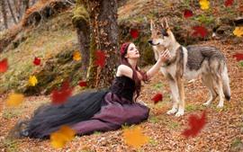 Девушка и волк, под деревом