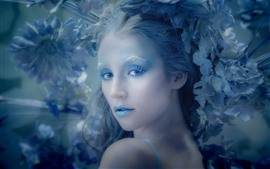 Garota, maquiagem, estilo azul, flores