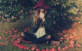 Preview wallpaper Girl sit on ground, hat, flowers