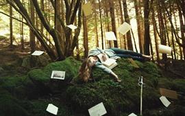 Girl, sleep, pose, forest, trees, books, paper, sword