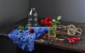 Preview wallpaper Glass cup, red roses, scissors, rope