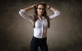 Preview wallpaper Glasses girl, brown hair, shirt, jeans