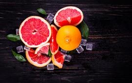 Pomelo, rojo, cubitos de hielo, fruta