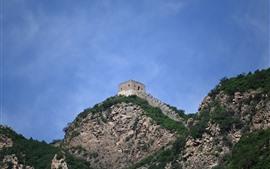 Grande muralha, ruínas, céu azul