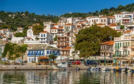 Grécia, skopelos, cais, cidade, barcos