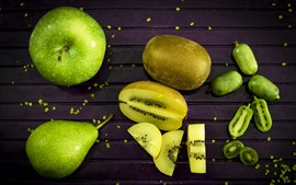 Preview wallpaper Green apple and pear, kiwi, fruit