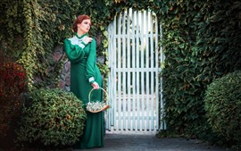 Preview wallpaper Green dress girl, gate, plants, retro style