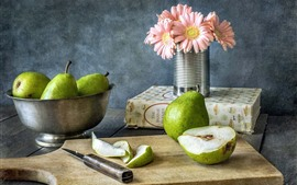 Preview wallpaper Green pears, gerbera, book, cut board, knife
