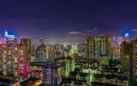 Preview wallpaper Guangzhou, city night, skyscrapers, lights, China