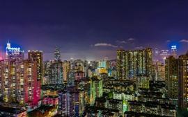 미리보기 배경 화면 광저우, 도시의 밤, 고층 빌딩, 조명, 중국