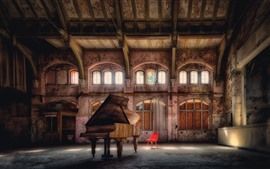 Preview wallpaper Hall, piano, windows, chair