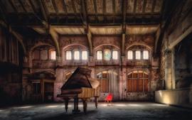 Зал, фортепиано, окна, стул