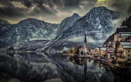 Hallstatt, Austria, houses, lake, mountains, snow, winter, dusk