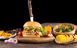 Preview wallpaper Hamburger, salad, corn, fast food