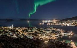 壁紙のプレビュー ハンマーフェスト、ノルウェー、北方灯、夜間、海、都市