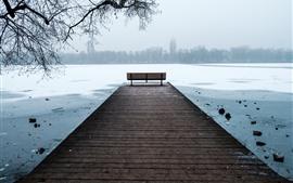 Ганновер, Германия, река, скамейка, лед, зима