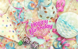 Preview wallpaper Happy Birthday, decoration, hat, ribbons, chocolate ball