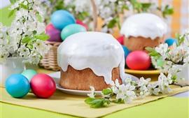Feliz Páscoa, bolo, flores brancas, ovos coloridos