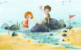 Preview wallpaper Happy childs, girl and boy, fishing, art painting