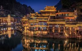 Aperçu fond d'écran Hunan, Chine, village, lumières, nuit, rivière