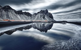 Preview wallpaper Iceland, mountains, sea, coast, water, reflection, clouds
