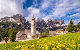 Italie, dolomites, église, montagnes, nuages, fleurs jaunes