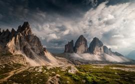 Italie, dolomites, montagnes, nuages, nature, paysage