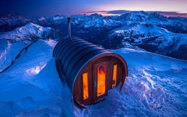 Itália, dolomites, sauna, casa, neve, inverno