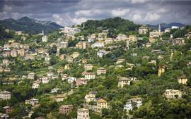 Aperçu fond d'écran Italie, ligurie, montagnes, maisons, ville, vue supérieure