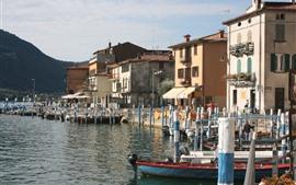 Aperçu fond d'écran Italie, lombardie, brescia, maisons, bateaux, lac