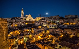 Италия, Матера, Базиликата, ночь, дома