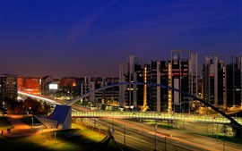 Италия, Милан, город ночь, здания, дорога, мост, огни