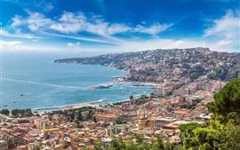 Itália, nápoles, sorrento, cidade, vista, costa, mar
