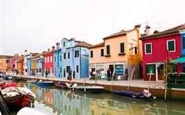 Itália, veneza, rua, rio, barcos