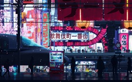 Preview wallpaper Japan, Tokyo, city, street, night, lights, art picture