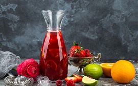 Preview wallpaper Juice, bottle, strawberry, orange, red rose
