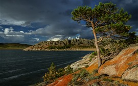 Preview wallpaper Kazakhstan, Lake Toraigyr, pine, mountains, thick clouds
