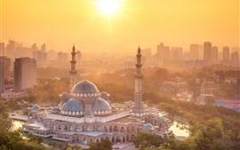 Куала-Лумпур, Малайзия, мечеть, город, солнце, утро