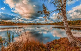Lake, water, trees, clouds, autumn