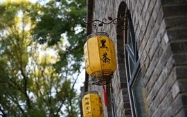 Lanternas, tijolos, China