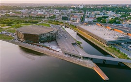 Preview wallpaper Lithuania, Kaunas, city, cars, river, Zalgiris Arena