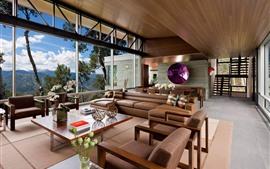 Sala de estar, sofá, janelas, montanhas, villa