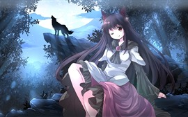 Long hair anime girl, wolf, trees, moon, night