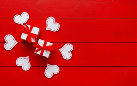 Preview wallpaper Love hearts, gift, red background