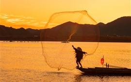 Aperçu fond d'écran Village de Lvjiang, pêcheur, rivière, matin