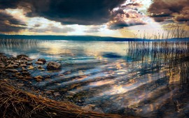 Preview wallpaper Macedonia, Ohrid Lake, stones, reeds, clouds, sunset