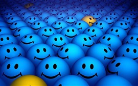 Preview wallpaper Many blue smile face, design