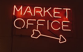 Preview wallpaper Market Office road sign, neon