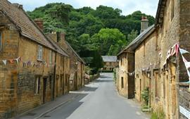 미리보기 배경 화면 Montacute, 영국, 마을, 거리, 주택
