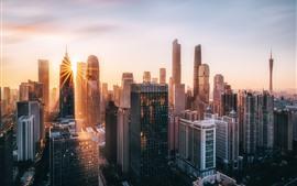 Morden city, Guangzhou, China, skyscrapers, morning, sun rays